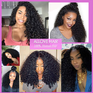 Allove 8A Brazilian Hair Extension 3 Bundles Curly Human Hair Weave
