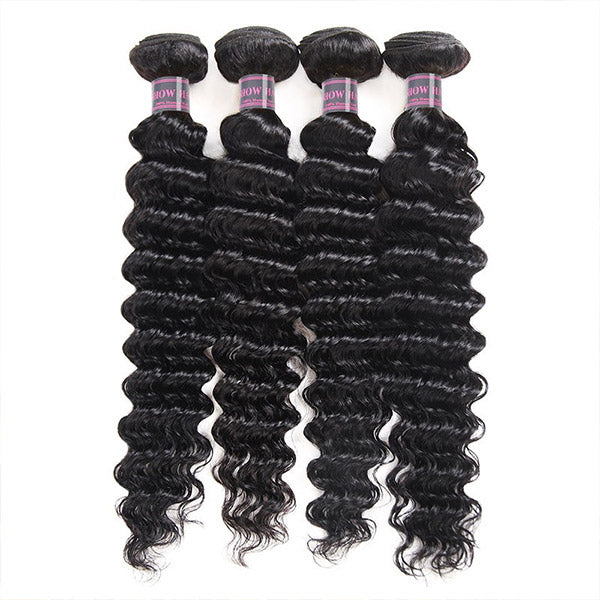 Ishow Virgin Brazilian Deep Wave Human Hair Extensions 4 Bundles
