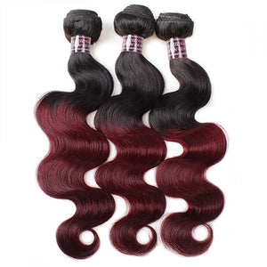 Ombre 99J Body Wave Human Hair 3 Bundles With 4x4 Lace Closure