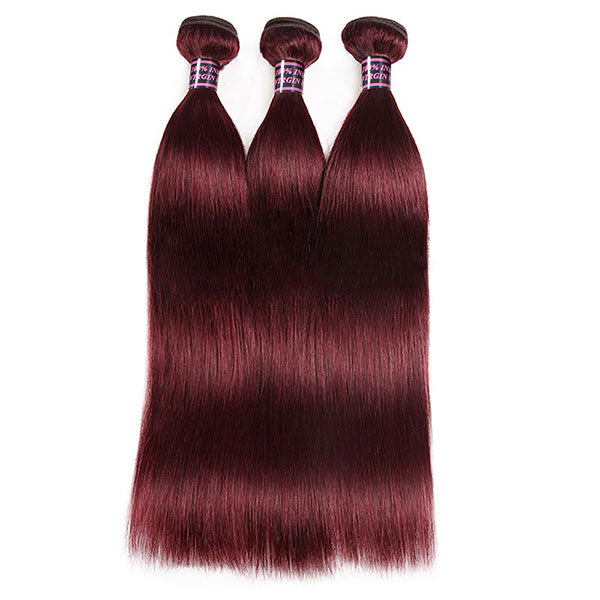 3 Bundles 99J Virgin Straight Human Hair With 4x4 Lace Closure