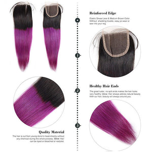 Ombre Straight Human Hair Weave 3 Bundles With Lace Closure T1b/Purple