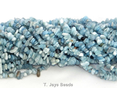 Aquamarine Chip Beads - 5x8mm