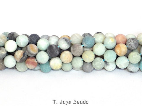 Multicoloured Frosted Amazonite Round Beads - 12mm