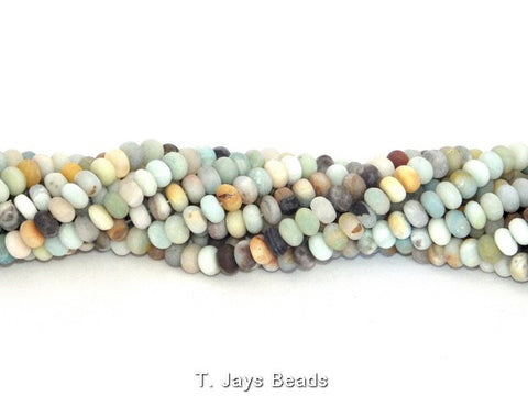 Multicoloured Frosted Amazonite Rondelle Beads - 5x8mm