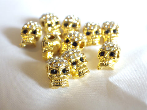 Crystal Pave Zinc Alloy Skull Beads With Rhinestones in Gold