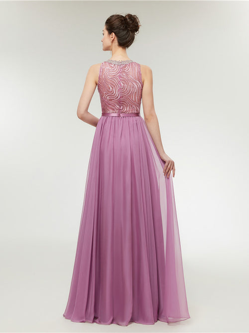 Light Magenta Long Chiffon Formal Prom Dress