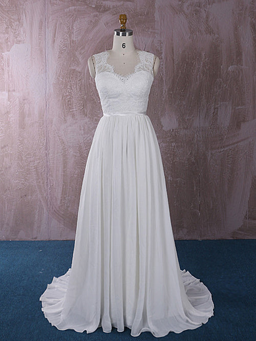 Grecian Chiffon Wedding Dress with French Chantilly Lace | QT815011