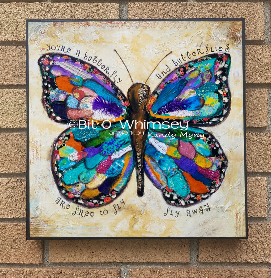 Butterflies are Free to Fly...wood block print