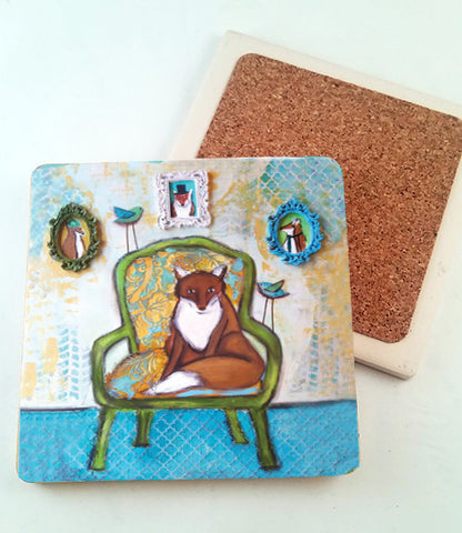 Fox and Family.. absorbant stone coaster