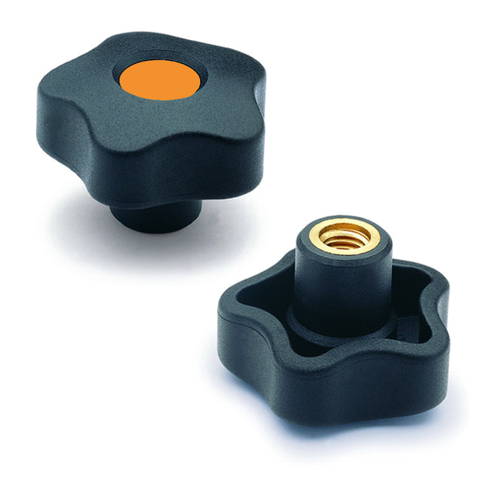 969953-C2 - VCT.50 B-5/16-18-C2  - Elesa Orange Lobe Knob w/ Brass Boss Threaded 5/16-18