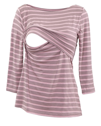Candy Brown Stripe Boatneck Nursing Top - Opening