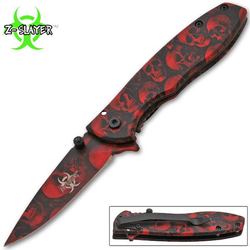 Z-Slayer Trigger Action Knife - Red Skulls