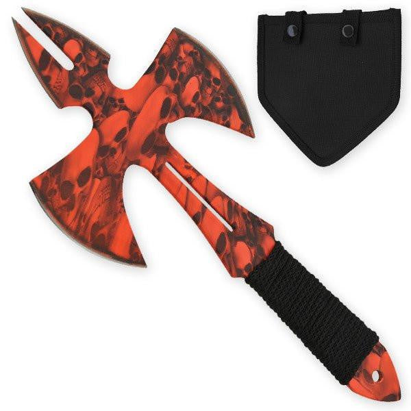 Red Skull Medieval Style Throwing Axe - Comes With Wearable Sheath - Knockout Knucks