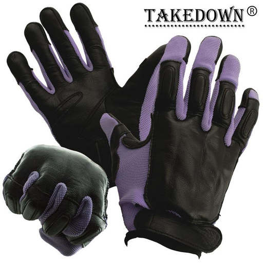 Takedown Purple Full Finger Sap Gloves w/ Steel Shot Knuckles - Large-Knockout Knucks