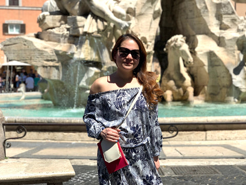 Handbag Designer Stacy Chan in Piazza Navona Rome