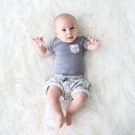 Rivers Gray Terry Shorts & Bodysuit Set