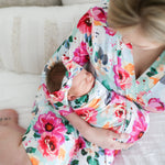 Posh-Peanut-Viscose-Bamboo-Stay-dry-fabric-reliably-chic-and-perfectly-practical-uniquely-designed-of-a-kind-mommy robe in fuchsia wild flower