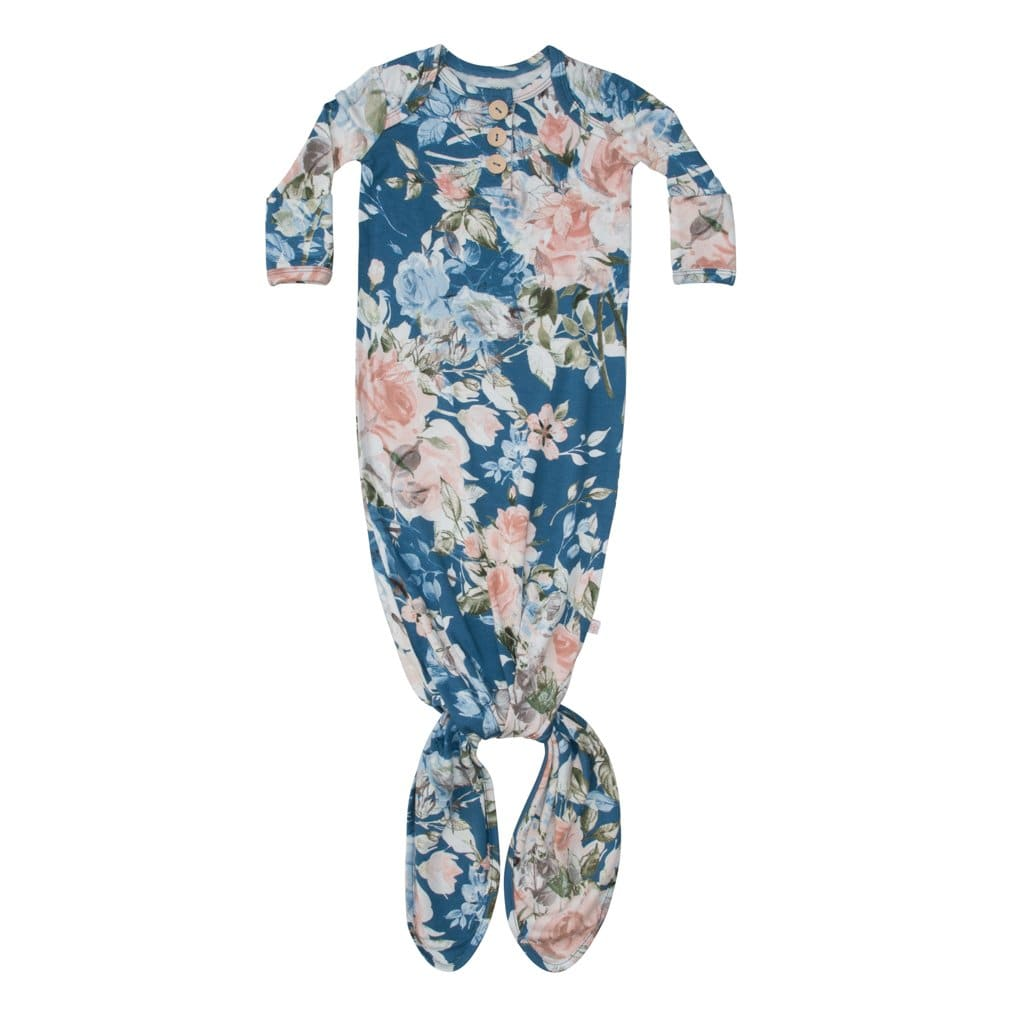 Blue Rose Button Knotted Gown