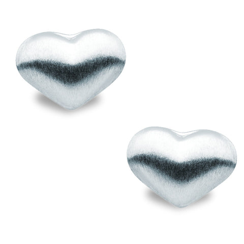 Brushed Silver Heart Studs - Zaffre Jewellery - 1