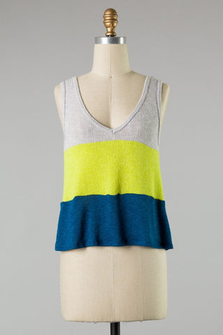 Knit Color Block Tank (Grey/Yellow/Blue)