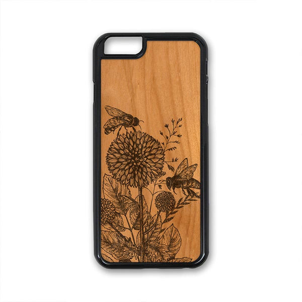 Bee On Flower iPhone Case Carved Engraved design on Real Natural Wood - For iPhone X/XS, 7/8, 6/6s, 6/6s Plus, SE, 5/5s, 5C, 4/4s