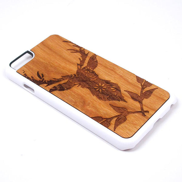 Deer Silhouette Design 01 iPhone Case Carved Engraved design on Real Natural Wood - For iPhone X/XS, 7/8, 6/6s, 6/6s Plus, SE, 5/5s, 5C, 4/4s