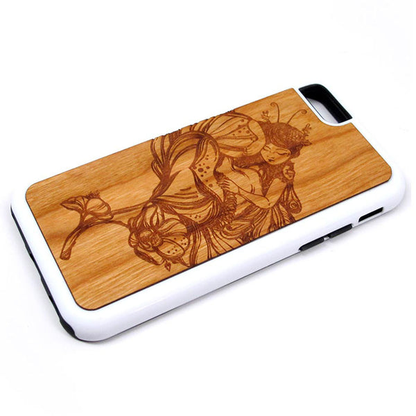 Fairy Sleeping iPhone Case Carved Engraved design on Real Natural Wood - For iPhone X/XS, 7/8, 6/6s, 6/6s Plus, SE, 5/5s, 5C, 4/4s