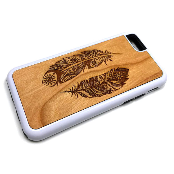 Feather Design8 iPhone Case Carved Engraved design on Real Natural Wood - For iPhone X/XS, 7/8, 6/6s, 6/6s Plus, SE, 5/5s, 5C, 4/4s