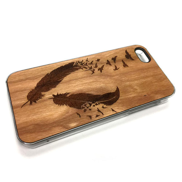 Feathers and Birds1 iPhone Case Carved Engraved design on Real Natural Wood - For iPhone X/XS, 7/8, 6/6s, 6/6s Plus, SE, 5/5s, 5C, 4/4s