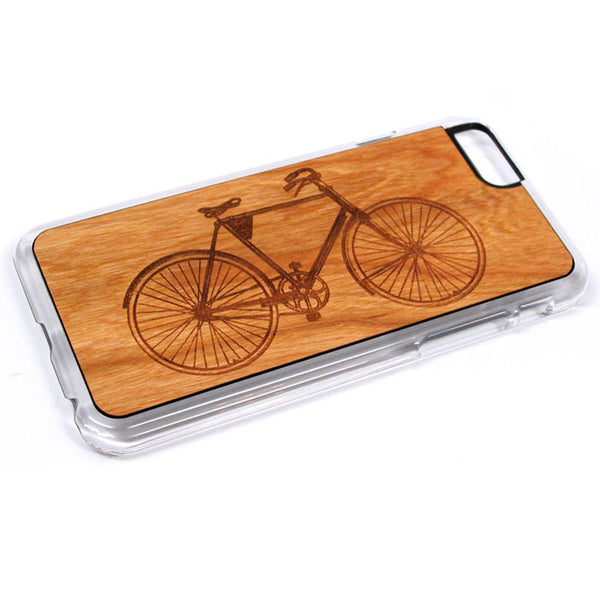 Bike graphic iPhone Case Carved Engraved design on Real Natural Wood - For iPhone X/XS, 7/8, 6/6s, 6/6s Plus, SE, 5/5s, 5C, 4/4s