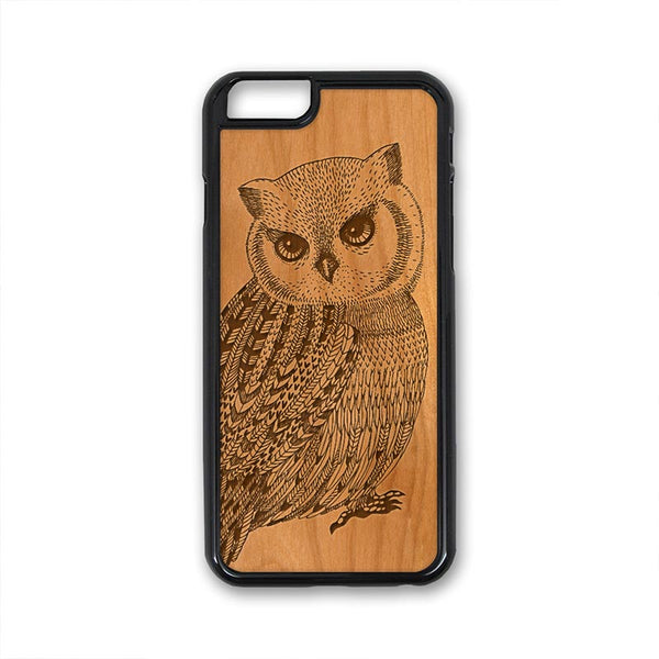 Boho Owl design2 iPhone Case Carved Engraved design on Real Natural Wood - For iPhone X/XS, 7/8, 6/6s, 6/6s Plus, SE, 5/5s, 5C, 4/4s