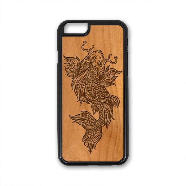 Boho Catfish Japanese style art iPhone Case Carved Engraved design on Real Natural Wood - For iPhone X/XS, 7/8, 6/6s, 6/6s Plus, SE, 5/5s, 5C, 4/4s