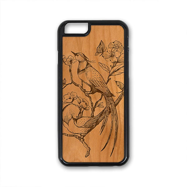 Floral Bird pretty flowers butterfly iPhone Case Carved Engraved design on Real Natural Wood - For iPhone X/XS, 7/8, 6/6s, 6/6s Plus, SE, 5/5s, 5C, 4/4s