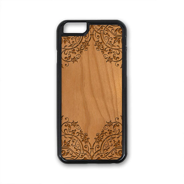 Flower Border 01 iPhone Case Carved Engraved design on Real Natural Wood - For iPhone X/XS, 7/8, 6/6s, 6/6s Plus, SE, 5/5s, 5C, 4/4s