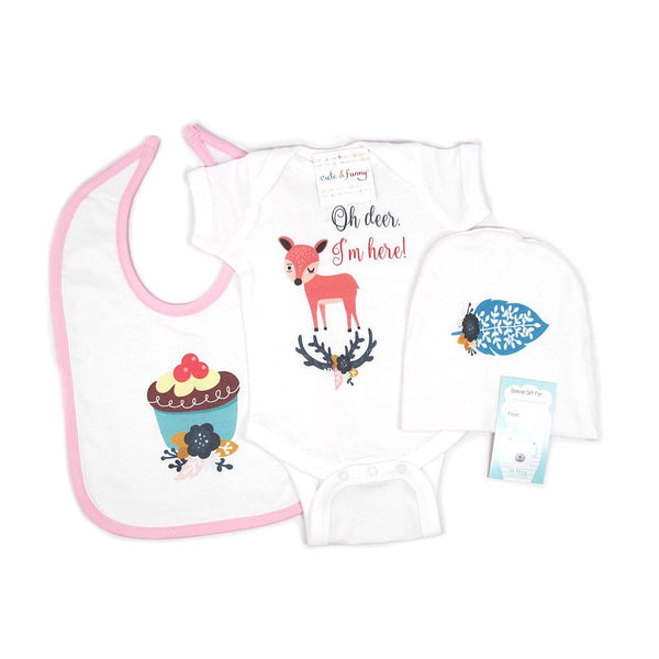 Oh deer. I'm here! - boho hipster cute & funny Baby Girls' Baby Shower Gift Set - onesie bodysuit cap bib