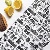 Scottish Illustrated Black And White Tea-towel