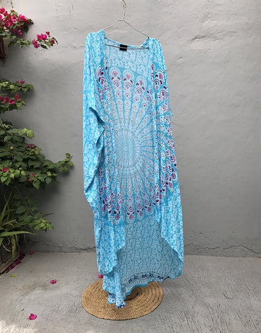 Turquoise Hi-Low PomPom Gown - SALE