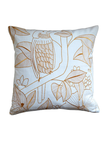 Golden Forest Embroidered Cushion