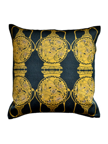 Filigree Pots Cushion - Daffodil