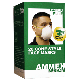 N95 Cone Style Industrial Face/Dust Mask by Ammex, 20 Masks Per Box