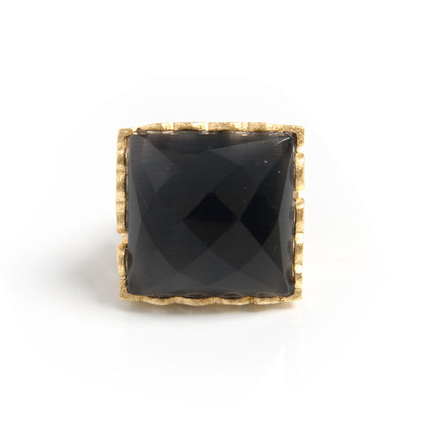 Black Doublet Square Scalloped Edge Cocktail Ring