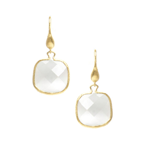Cat's Eye White Cushion Cut Dangle Earrings