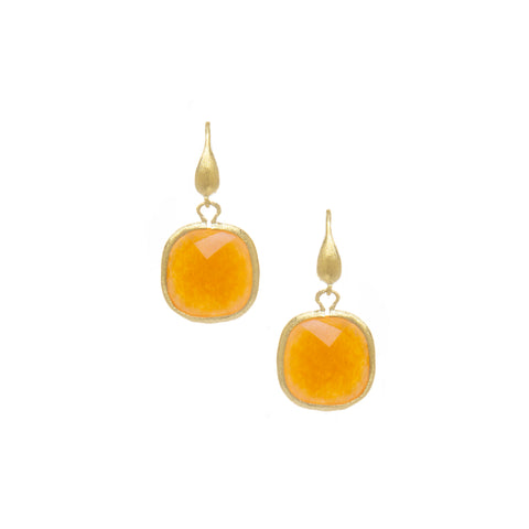 Orange Quartzite Cushion Cut Dangle Earrings