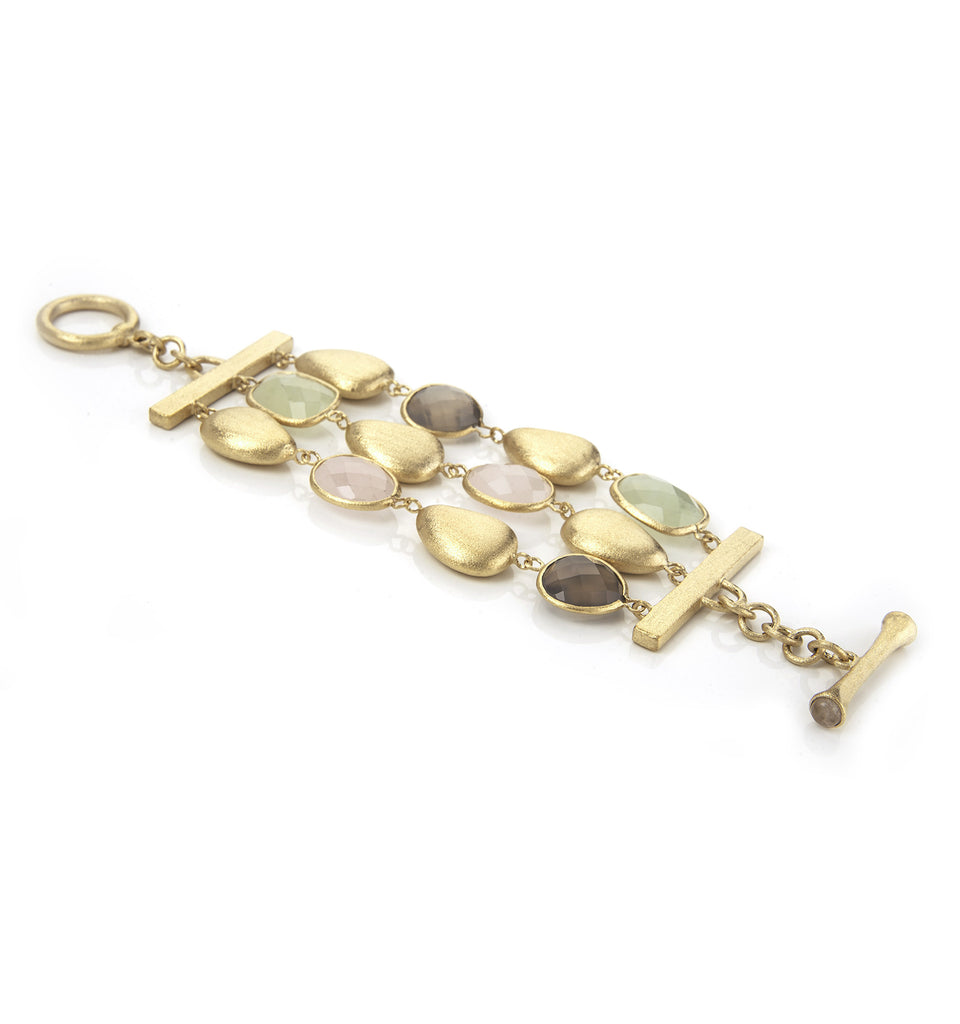 Rose Quartz + New Jade + Grey  Chalcedony + Satin Pebble 3 Row Bracelet