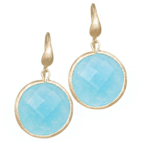 Caribbean Quartzite Round Drop Earrings