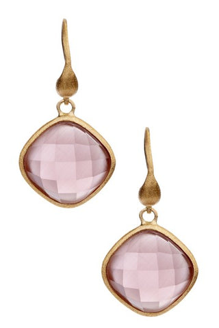 Lavender Cushion Cut Drop Earrings