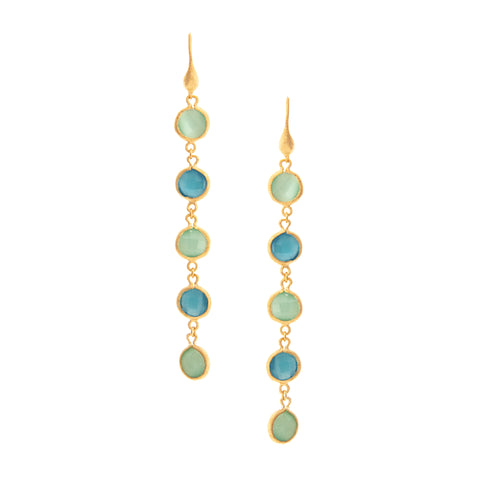 Multi Gem Drop Earrings - Aqua + Cat's Eye Blue