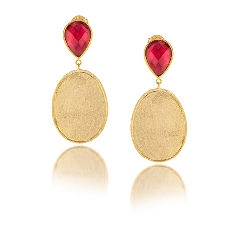 Rubellite - Mother of Pearl Doublet + Satin Oval Drop Earrings