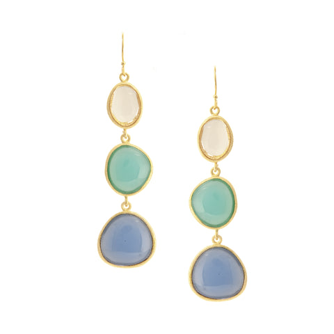 Rock Crystal + Mint + Blue Chalcedony Triple Cascading Earrings