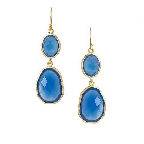 Blue Onyx Deco Drop Earrings